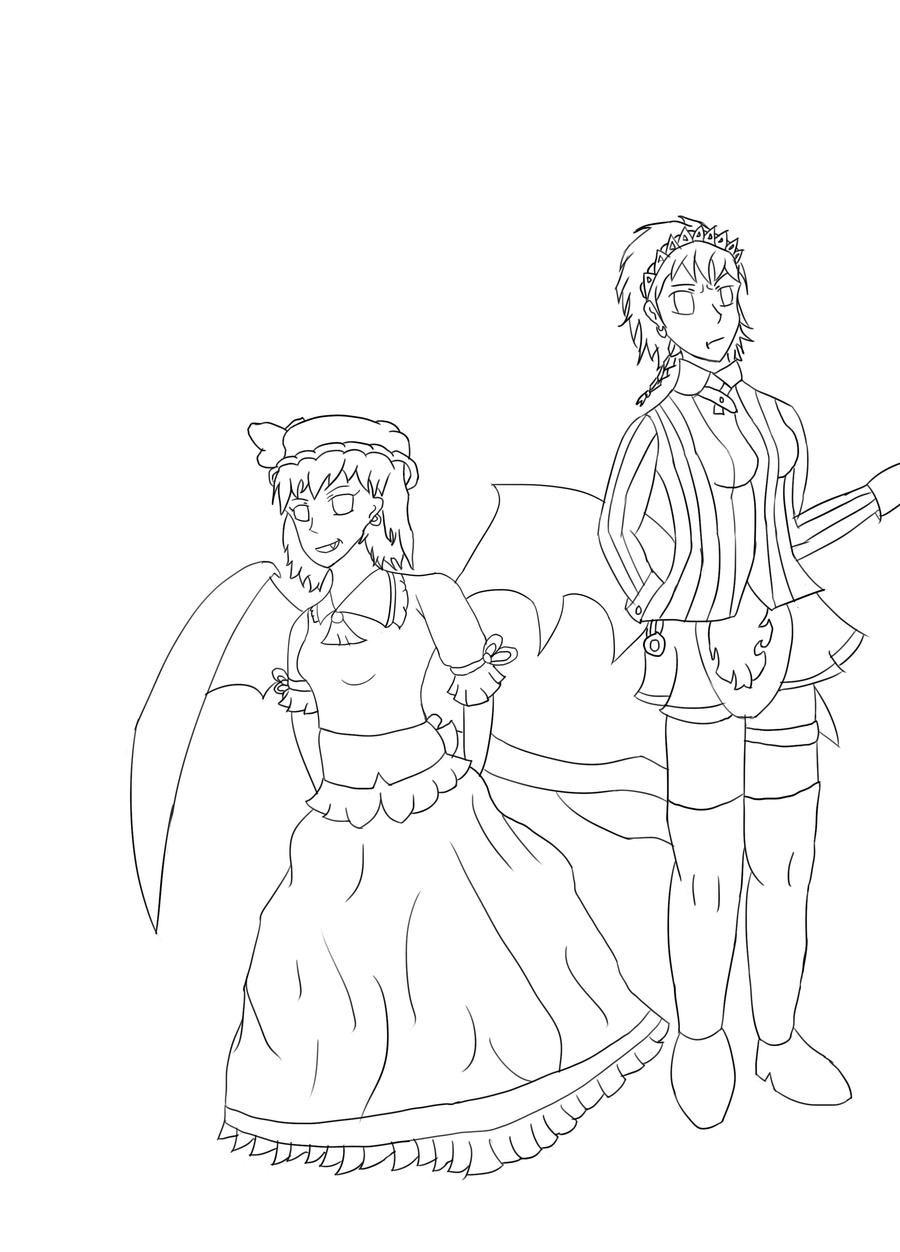 Remila and Sakuya (Art Trade/Lines Wip) by RunnerGuitar