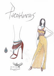 Pocahontas - Modern Fashion Sketch (Gown) by CheshireScalliArt