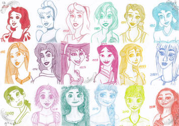 Disney Heroines - Single Color Portraits by CheshireScalliArt