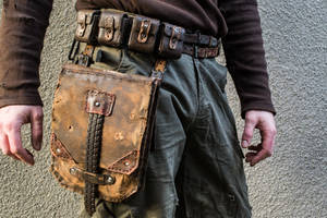 Postapo Belt With Leather Bag by Tharrk