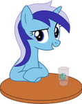 Minuette sitting beside table vector