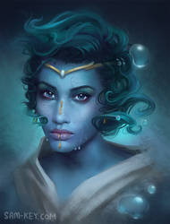 Water Genasi by samanthajoanneart