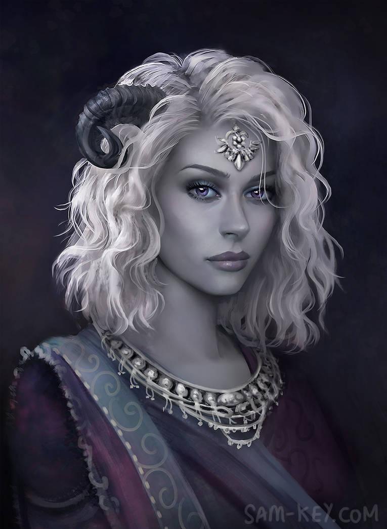 Silver Tiefling by samanthajoanneart