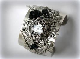 Gothic Garden - Silver Wrist Watch Cuff Bracelet by LeBoudoirNoir