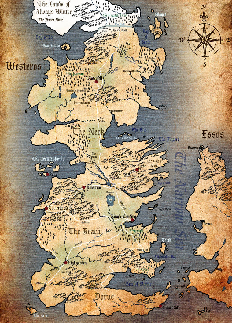 Westeros Physical Map (in English) by A-Lack-of-Rainbows