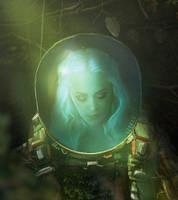 sleepy neon girl by llyaas