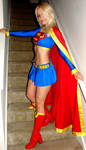 Supergirl on stairs