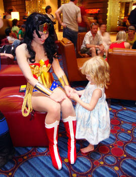 Wonder Woman and small fan