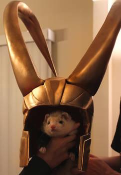 Loki and his helmet
