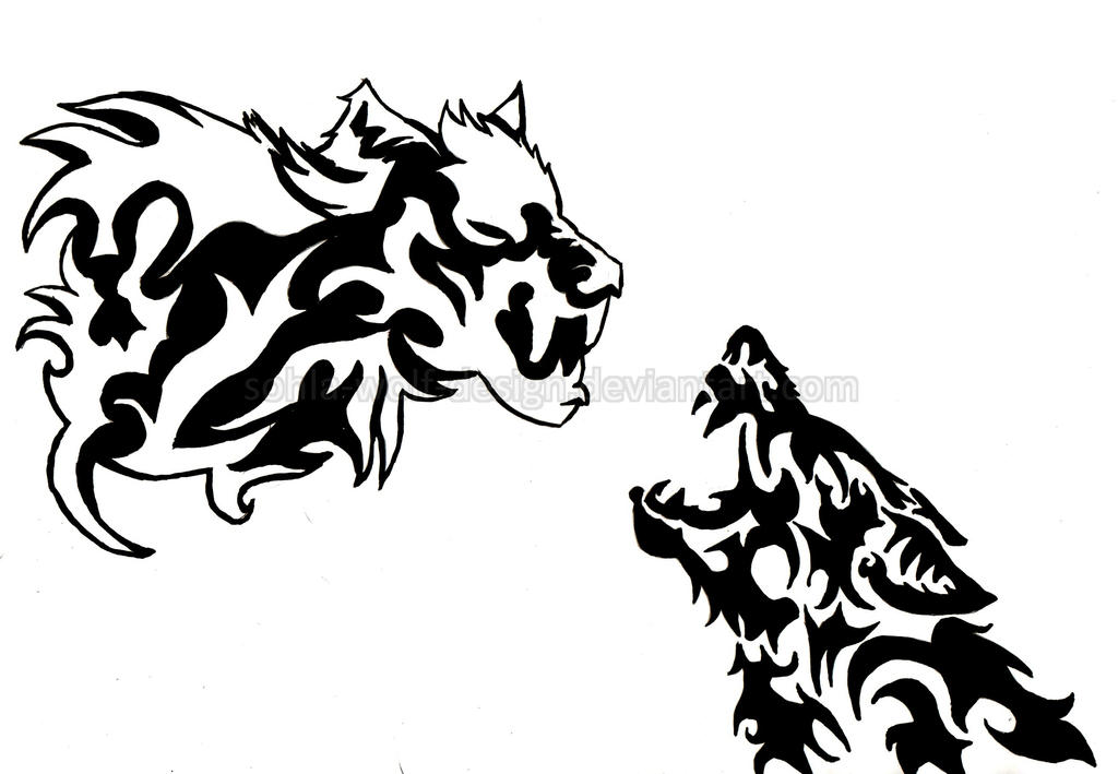 white and black wolf tattoo design by sohla wolf design on deviantart. Black Bedroom Furniture Sets. Home Design Ideas