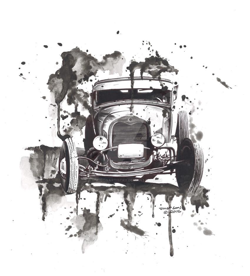 Watercolour Hotrod by SIMPSONARTISTRY