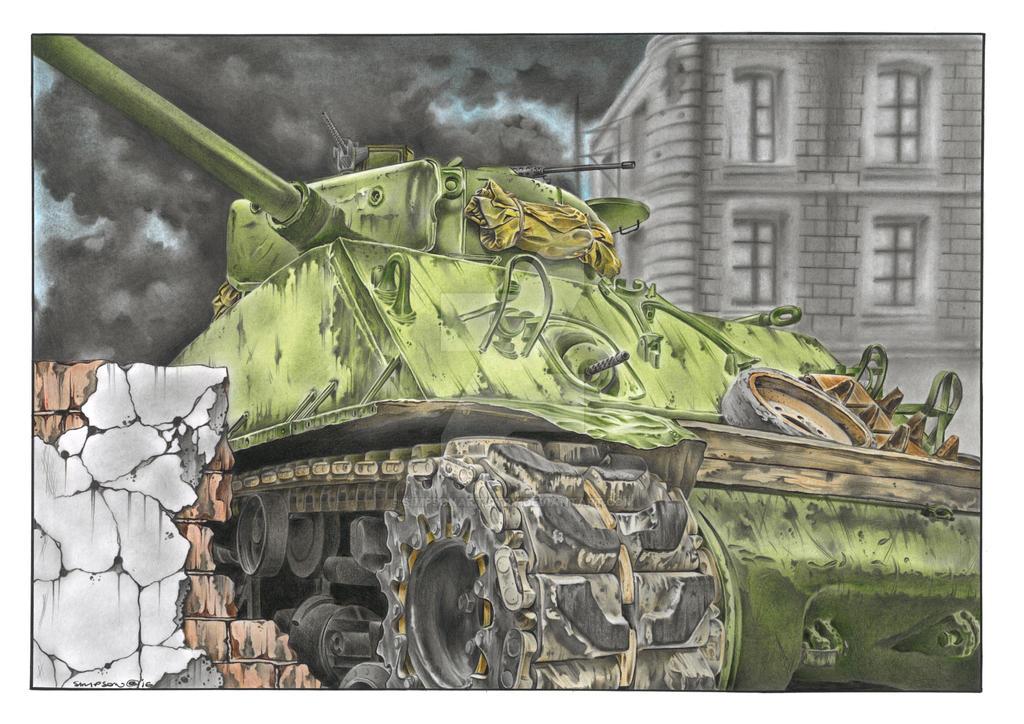 M4A3E8 Sherman Tank by SIMPSONARTISTRY