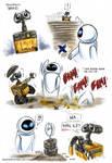 Wall-E: Wall-E and Eve doodles