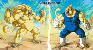 Oozaru SSJ3 Goku VS Oozaru Majin Vegeta by Greytonano