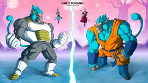 Oozaru SSJBlue Vegeta VS Oozaru SSJBlue Goku by Greytonano