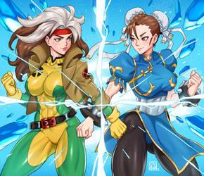 Rogue vs Chun Li Marvel vs Capcom fanart