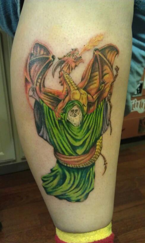 Wizard and dragon tattoo by tattered71 on deviantart for Wizard tattoo designs