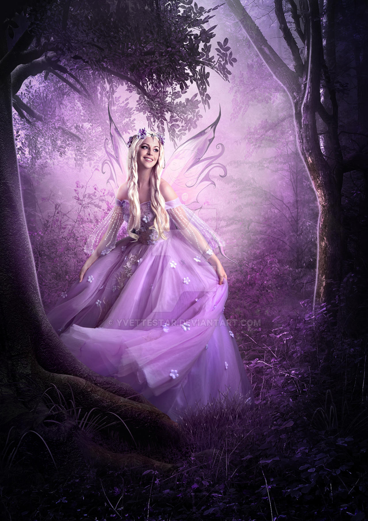 Pink Fairy In Forest by Yvette