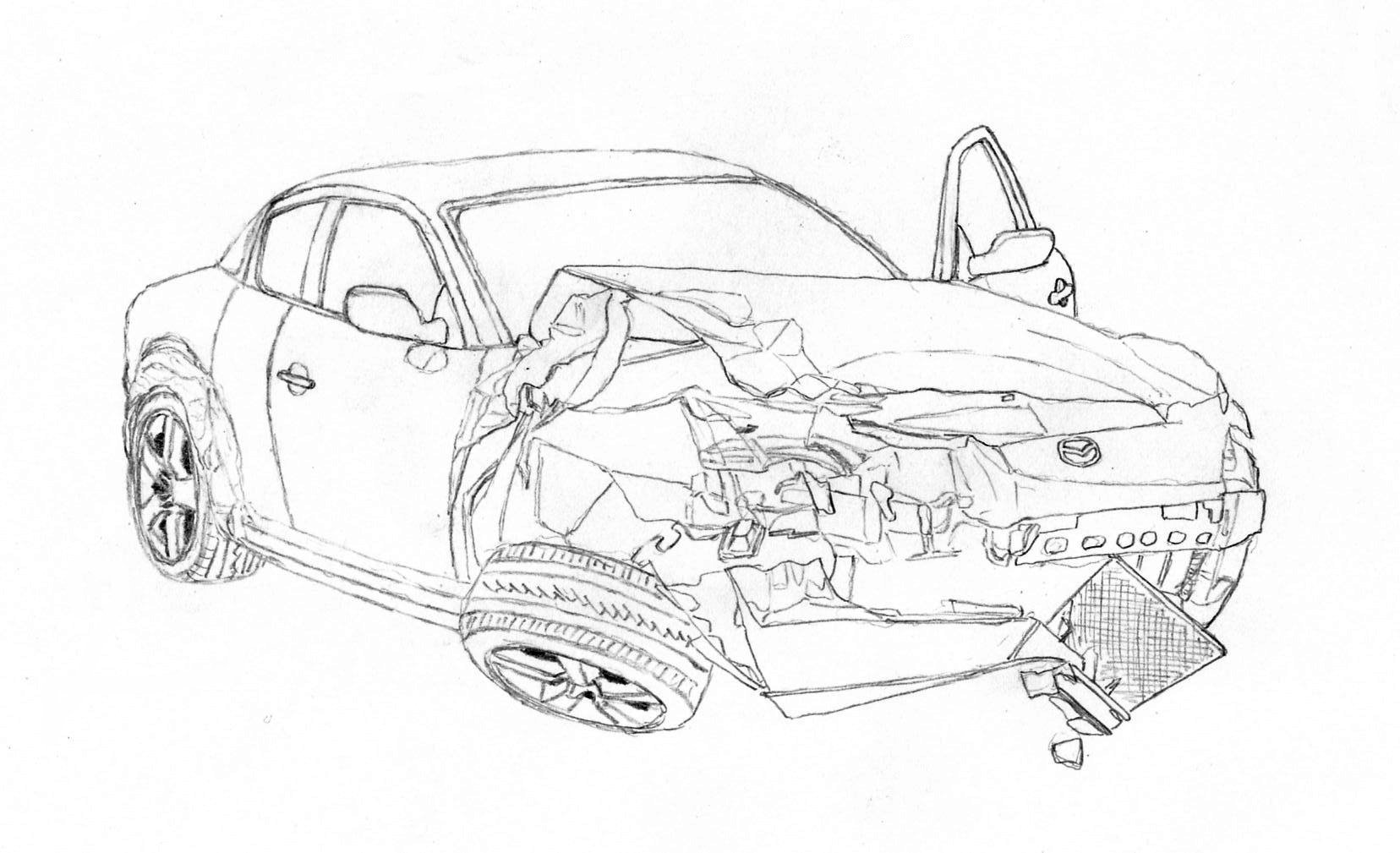 Colouring Pages Of Car Crash : Crashed rx lineart by lew gtr on deviantart