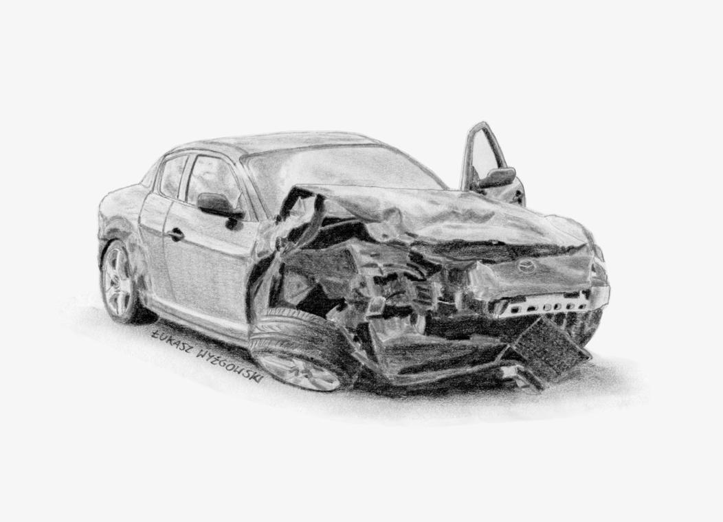 Crashed Mazda RX-8 by Lew-GTR