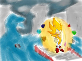 Super Sonic Vs Chaos by Cinos-Hedgean