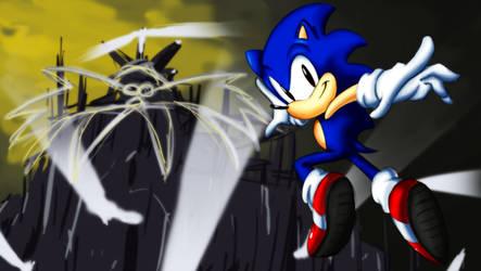 Sonic SoaringOver Robotropolis by Cinos-Hedgean