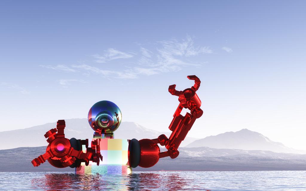 POSTER-Robot-inDesert 002 water by jackalzweb