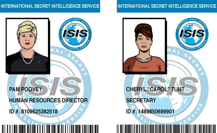 ISIS ID Badges: Pam and Cheryl by pinkfizzypops on DeviantArt