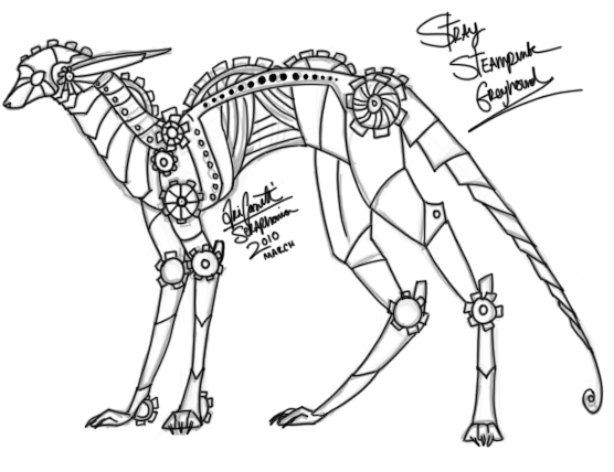 Steampunk Greyhound by Seraphania