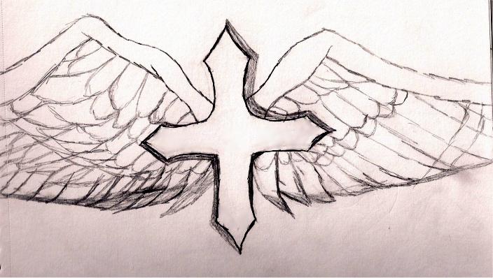 Cross wing tattoo design