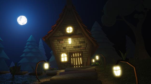 Stylized fantasy cottage at night