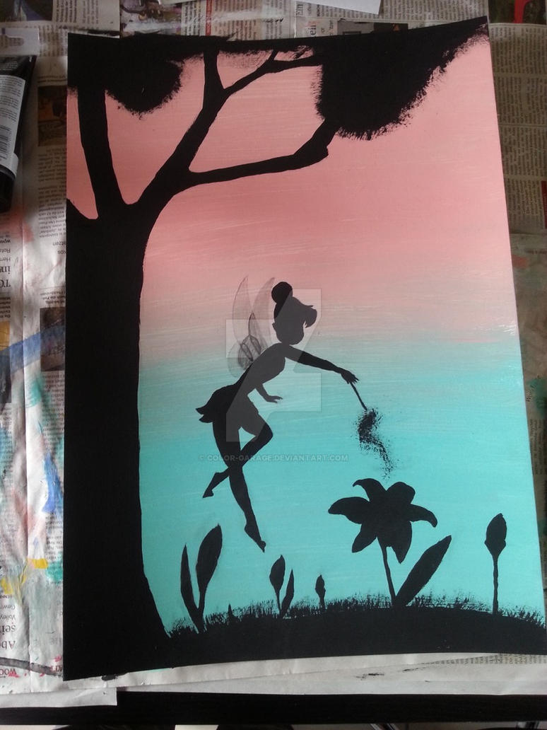 Tinkerbell sillouette acrylic painting by color-garage on DeviantArt