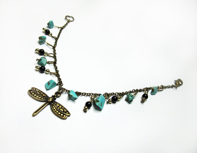 Brass Dragonfly Bracelet with Turquoise by MyArtself