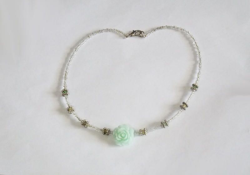 Mint Rose and Swarovski Beads Necklace by MyArtself
