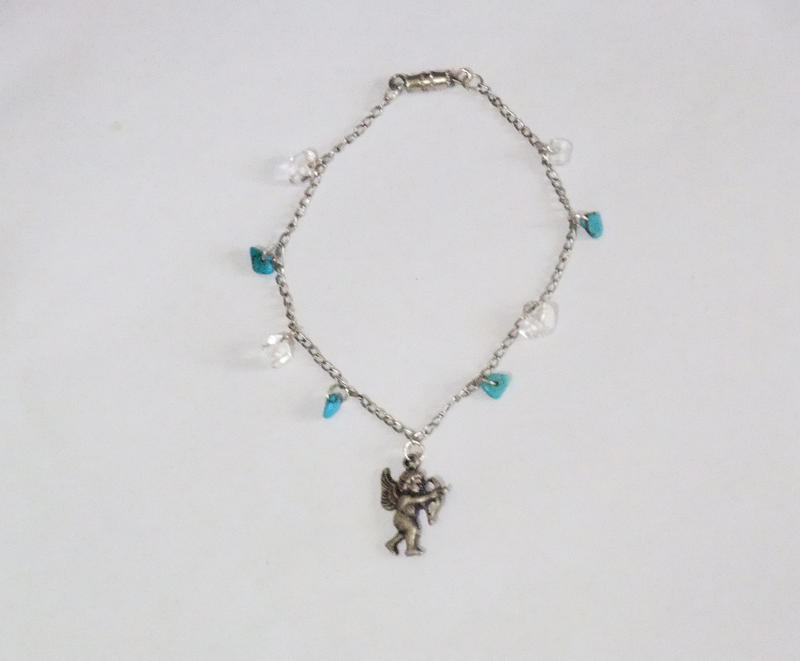 Cupid Turquoise Charm Bracelet - silver plated by MyArtself