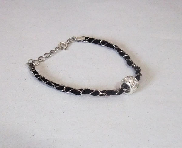 Black Leather and Chain Bracelet with Rhinestone by MyArtself
