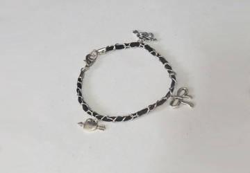 Silver and Black Leather Charm bracelet by MyArtself