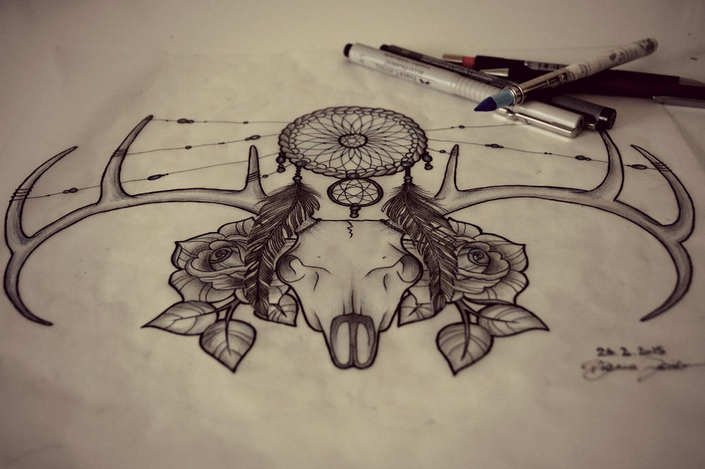 The gallery for traditional deer skull tattoo for Skull sun tattoo