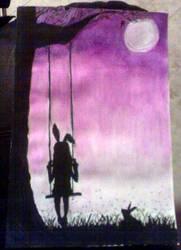 Bunny girl on a swing