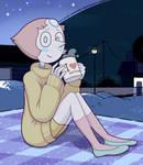 Pearl wearing a sweater.