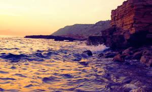 sunset in rocks