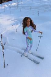 Ayla is skiing