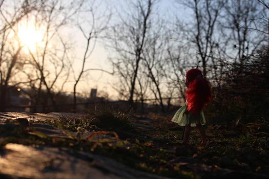 Little fairy greets the Sun