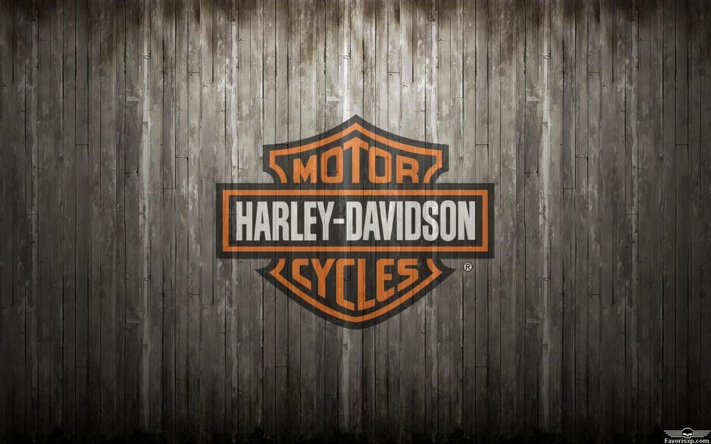 harley davidson logo orange background wood grey by
