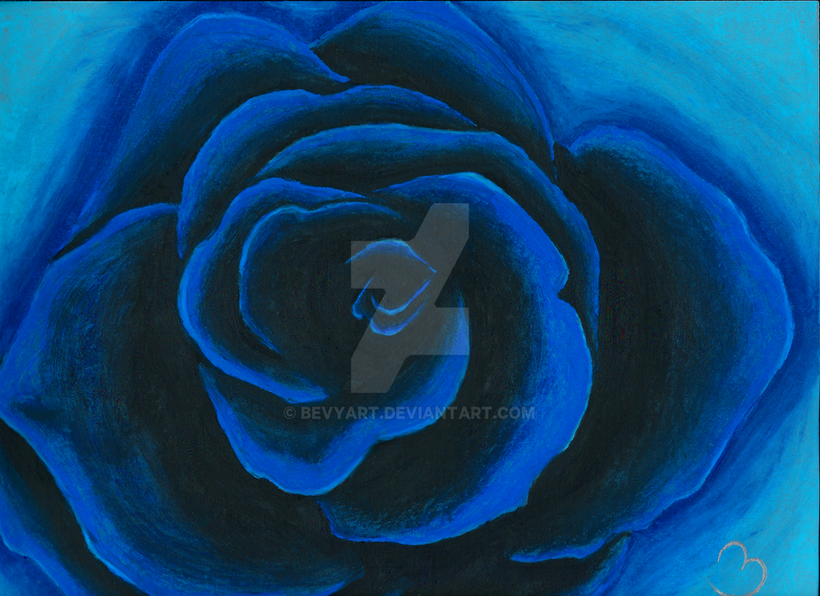Blue Rose Oil Pastel by BevyArt