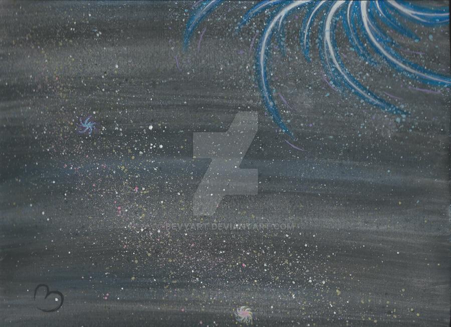 Watercolor Splatter Galaxy by BevyArt