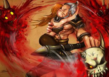 Barbarian whirlwind love by DotWork-Studio