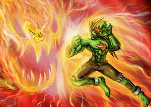 Death Battle Fanart: Pikachu vs Blanka