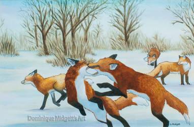 Winter's Skulk of Tods by ShadedMoons
