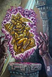 Snake goddess statue